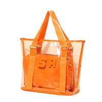 Wholesale Clear Handbags Candy - Wholesale-Women Beach Bag Jelly Candy Clear Transparent Handbag Tote Shoulder Bags