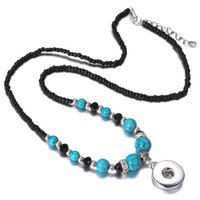 New Fashion Snap Vintage Long Necklace Red Natural Stone Turquoise Beads Handmade DIY 18mm snap Button Pendant Colares para mulheres