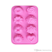 Wholesale Chocolate Different Shape - 1x New Kitchen Silicone chocolate mold,cookies mold,3D 8 different Shape Fondant Cake baking Tools,Cake Decorating Free shipping