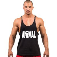 Wholesale Tight Cotton Mens Wholesale - Wholesale- Mens Tank tops Tights Clothing For Men Casual Sleeveless Men Undershirts Cotton Bodybuilding ANIMAL Summer Homme Shirts Vest