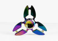 erwachsene spielzeug rotierend großhandel-Hot Metal Aluminium Mini Claw Crab Hand Zappeln Spinner Angst Drehen Dekompression Für Kinder Erwachsene Finger Dreieck Spinning Toy HandSpinne