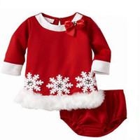 ropa interior roja 3t al por mayor-Conjunto de ropa de bebé de pijamas navideños Copo de nieve rojo Ropa para niños Traje de niños pequeños 2 UNIDS Chica camiseta + Ropa interior Niños Ropa Gril Boutique