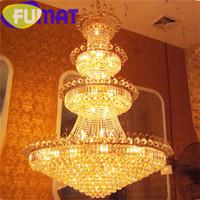 Wholesale Large Iron Pendant Light - FUMAT New Style Penthouse Crystal Large Pendant Lamp Gold Living Room Villa Hotel Hall Large Chandelier Luxury Lighting Fixture