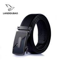 Wholesale Brown Canvas Belt - 2017 Cow Genuine Leather Men Belts Luxury Automatic Buckle Belts For Men Black Brown Colors First Layer Cowhide Belt