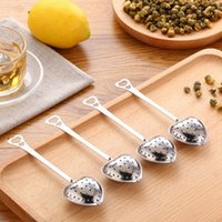 "Wholesale Stainless Steel Tea Spoon - ""Tea Time"" Heart Tea Infuser Heart-Shaped Stainless Herbal Tea Infuser Spoon Filter"