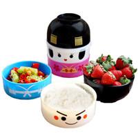 juegos de vajilla de plastico al por mayor-bento box de dibujos animados YGS-Y010-japonesa estilo redondo festivo fiambrera de plástico Vajillas fija el juego de vajilla para microondas de comidas Box