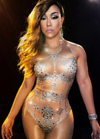 Wholesale sexy dance performance costumes - Nude Crystals Bodysuit Summer Sexy Bling Costume Rhinestones One-piece Outfit Performance Nightclub Show Party Dance Wear
