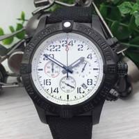 mens relógios cronógrafo venda por atacado-Luxo Chronomat Melro Rubber Band Branco Dial Quartz Chronograph Sports Watch homem Mens Dress Relógios Relógios De Pulso
