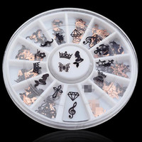 Wholesale Nail Decal Wheel - Wholesale- 120pcs 3D Metal Christmas Nail Art Decoration Slice Black Stickers Decal Foil Wheel Beauty Nail Tool Free shipping