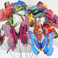 Hot Colorful Double Wings Butterfly Stakes Garden Ornaments Party Supplies Décorations pour jardin extérieur Fake Insects