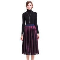 Wholesale Big Gown For Woman - Spring Automn Fashion Pleated skirt Mat MidiSkirt Long Bustskirt with big Himline expansion skirt for Women Fedmale