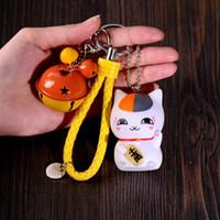 Wholesale Cat Keychain Bell - Janpanese Fortune Cat Cartoon Maneki Neko Keychain Zinc Alloy Key Rings Knit Leather Chain Color Bells Bag Pendant Car Ornament