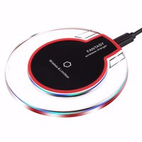 Barato Carregamento Pad Para Nota Galáxia-QI Wireless Charger Charging Pad Fantasy Alta eficiência Blue Light Crystal para Iphone X 8 Plus Samsung Galaxy S8 Nota 8 com pacote de varejo