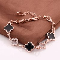 Wholesale Rose Gold Clover Bracelet - 5pcs Charm Bracelet with Clear Austrian Crystals Four Leaf Clover 18K Rose Gold Plated For Woman Wholesale Fashion Jewelry B056