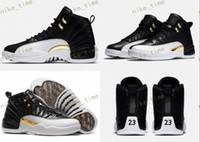 Wholesale Canvas Shoes Wings - High Quality Retro 12 Wings Men Basketball Shoes 12s Wings Discolor Gold 12s Master Sports Shoes