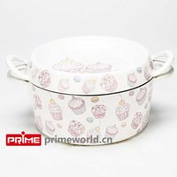 Wholesale Prime Enameled Cast Iron Covered Dutch Oven Casserole White Color Painting Enamel Cookware Round Doufeu Cooking Dish ice cream