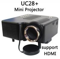 ledli tv kartı toptan satış-UNIC / Multidimension UC28 + ev mini LED projektör / Destek bilgisayar TV USB flash SD kart ve DVD