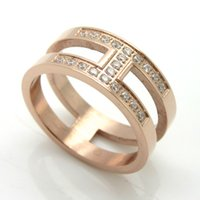 Wholesale Rose Gold Mosaic - Stainless Steel Ring Classic H Letter Wedding Ring With Clear Austrian Crystals Mosaic AAA CZ Zircon Brand Jewelry