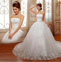 Wholesale Dress Straples - Luxurious Princess Straples Bridal Wedding Dresses Lace Bow Appliques Custom Made Lace up Back Plus Size Cathedral Train Bridal Wedding Gown