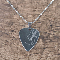cadenas de guitarra al por mayor-Guitar Pick Colgante Collar de cadena metálica para guitarra eléctrica Bass-Silver