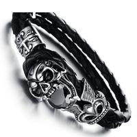 Wholesale bracelets ideas - Personality titanium steel jewelry bracelet rock fashion ideas devil skeleton leather bracelet