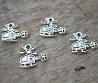 Wholesale Helicopter Charms Silver - 30pcs--helicopter Charms, Antique Tibetan Silver Tone helicopter charm Pendants 17x17mm