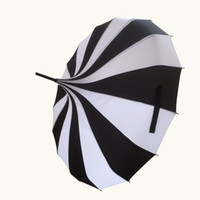 Wholesale Fashion Pagoda umbrella Victorian Wedding Straight umbrella With Black and White Stripe Color WA1646