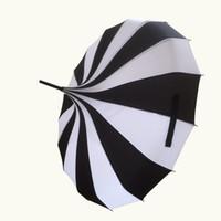 ingrosso ombrello di nozze nera-Ombrello diritto di modo della pagoda dell'ombrello della sposa vittoriana con colore in bianco e nero della banda, trasporto libero WA1646