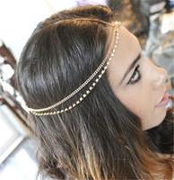 Wholesale Gold Wedding Head Pieces - New Fashion Rhinestone Headpiece Gold Head Chain Head Piece Jewelry Boho Bohemian Gypsy Style Wedding Tiara Headband Jewelry MY-082