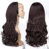 Wholesale Dark Brown Layered Long Wig - Long Layered Natural Wave Dark Brown Hair Fall 3 4 Wig Hairpiece Half Head Wig Fall