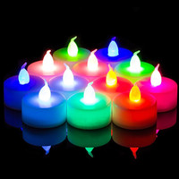 botón led luces pequeñas al por mayor-Barato Led Electronic Candle Light Creative Wedding Christmas Birthday Candle Venue Layout Props Button Decorations Led Small Tea Light