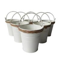 Wholesale Bucket Tin Box - D7*H7CM white color Party Favor Metal mini Pail Tin bucket Rustic Succlents Pots Decorative Galvanized Meat plant pot Iron pots