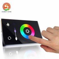 Wholesale Wall Mounted Rgb Controller - DC 12-24V Wall-mounted Touch Panel LED Dimmer Controller Wall Switch Full-color 12v led dimmer for 3528 5050 led strips rgb + US standard