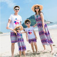 Wholesale Dresses Summer Sea - Family sea holiday clothes bohemia style girls women beach long dress father son printed T-shirt+shorts 2pc clothing girl summer dress T3485