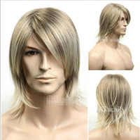 Wholesale Blonde Men Wigs - ePacket free shipping>New Man Wigs Male Fashion Excellent Fiber Synthetic Blonde Mix Men Wig