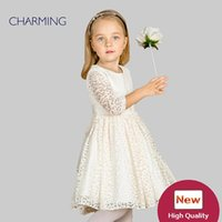 Wholesale Designer Shirts Children - Brand new lace long sleeve dress Designer children clothing High quality round neck long sleeved dress Best wholesale suppliers from china
