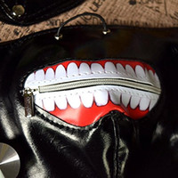 Wholesale zipper face mask - Cosplay Tokyo Ghoul Kaneki Ken Adjustable Zipper PU Leather Mask Halloween Prop Easter decoration funney popular