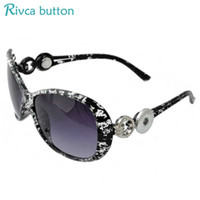 Wholesale Glass Eyes For Jewelry - Wholesale-High Quality Snap Button Sunglasses For Women Brand Newest Designer Cat Eye Sun Glasses Fit 18 20mm Rivca Button Jewelry P00928