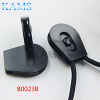 """Wholesale Plastic Stoppers Cord Locks - Wholesale- 20 pcs pack 1 8""""(4mm) Drawstring Sliding Plastic Wheel Pull-Strings Pulley Cord Lock Ends Stopper Black"""