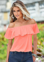 Wholesale Hot Pink Chiffon Blouse - hot new fashion summer style natural color offer shoulder sleeveless slash neck ruffle blouses for women