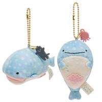 "Wholesale Wholesale Plush Toys Keychains - New Fun 2 Styles 4"" Jinbei San Whale Shark Mini Plush Doll Mascot Keychains Spring San-X Japan Soft Toys"
