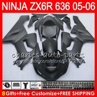 Wholesale Zx 636 - 8Gifts 23Colors Bodywork For KAWASAKI NINJA ZX-636 ZX-6R 05-06 600CC 27HM2 Matte black ZX 636 ZX 6R 2005 2006 ZX636 ZX6R 05 06 Fairing kit
