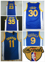 Wholesale Cheap Sport Patches - 2017 Finals patch #30 Stephen Curry 35 Kevin Durant 23 Draymond Green 11 Thompson Road Blue basketball sports jerseys cheap wholesale