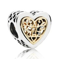 Wholesale Diy Letters Gold - AAuthentic 925 Sterling Silver Bead Charm Openwork Silver Gold Locked Hearts Bead Fit Women Pandora Bracelet Bangle Diy Jewelry HKA3159