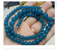 colar bead moda bonita venda por atacado-Moda real Natural Bead GEMS STONE Bonito! 6-14mm apatita Colar De Contas Redondas