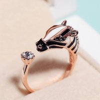 Wholesale Woman Index Finger Rings Jewelry - Hot Sale Women Fashion Zebra Horse Head Adjustable Index Finger Opening Ring Characteristic Jewelry Free Shipping RING-0238
