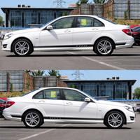 Wholesale Mercedes W164 - Styling Racing Side Stripe Skirt Sticker for Mercedes Benz Classe A B C E CLK CLS GLK ML 350 W211 W212 W213 E200 W164
