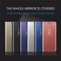 Wholesale Iphone Luxury Leather Chrome Case - For Iphone 8 7 7Plus 6 6S Plus Luxury Clear View Flip wallet leather Case Chrome Plating Mirror Cell Phone Hard Stand Cover 1pcs