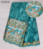 Wholesale Turquoise Lace Fabric Wholesale - Fancy french lace latest african laces net turquoise sequin evening dress nigerian lace fabrics for party PN73