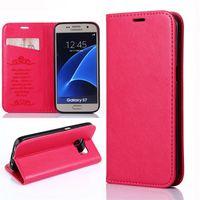 Wholesale Iphone Case Sheepskin - For Samsung S7EDGE Sheepskin Grain Leisure Wallet Case PU Card Slot Kickstand Back Cover For iPhone 6 6S 7 Plus Opp Bag